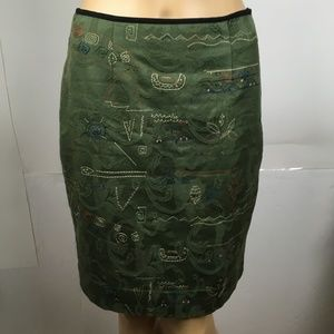 Anthropologie Meadow Rue Pencil Skirt Size 2 Green